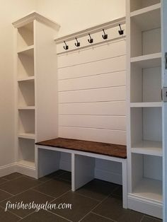 99 DIY Mudroom Organization Ideas Beautiful mudroom bench with shiplap back and dual side cubbies which are 16 inches deep! The old baseboards were re-purposed at the base of the cubbies and under the bench. Mudroom Laundry Room, Mud Room Lockers, Mudroom Bench Plans, Mudroom Cubbies, Mudrooms With Laundry, Garage Mudrooms, Garage Bench, Closet Mudroom, Garage Closet