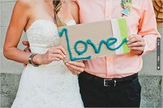 yarn wedding sign | VIA #WEDDINGPINS.NET
