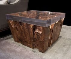 Contemporary side table in reclaimed wood - TEAK ROOT - ArchiExpo