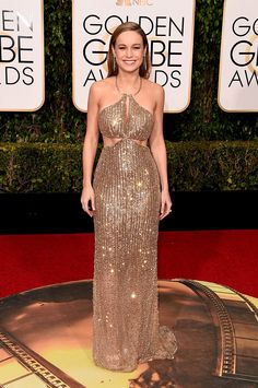 Brie Larson Calvin Klein Gown, Crystal Gown, Gold Gown, Gold Dress, Calvin Klein Collection, Purple Wedding, Wedding Colours, Golden Globes 2016, Brie Larson