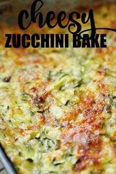 Cheesy Zucchini Bake - a delicious recipe to use up the zucchini in your garden! Cheesy Zucchini Bake - a delicious recipe to use up the zucchini in your garden! Shredded Zucchini Recipes, Zucchini Bread Recipes, Vegetable Recipes, Vegetarian Recipes, Cooking Recipes, Healthy Recipes, Zucchini Pie, Vegan Zucchini, Zoodle Recipes