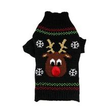 Pet Dog Winter Clothes Christmas Sweater Black Knitted Hoodies Dog Cats Warm Jacket Coat Elk Snow Printed(China (Mainland))
