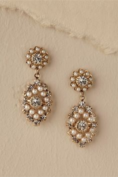 pearl + crystal drops | Courtship Earrings from BHLDN