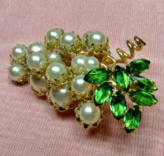 RESERVERED FOR NetRuss ,,,Schreiner Grape Brooch / Faux Pearls / Inverted Green…