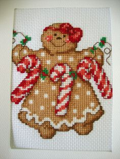 """COMPLETED FINISHED CROSS STITCH CARD """"GINGERBREAD GIRL WITH CANDY CANE"""""""