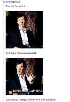 Wonderful to note actually, is that Benedict was imitating his television Sherlock predecessor, the Granada Holmes, Jeremy Brett. Sherlock Holmes Bbc, Sherlock Fandom, Sherlock John, Watson Sherlock, Jim Moriarty, Sherlock Quotes, Martin Freeman, Benedict And Martin, John Martin