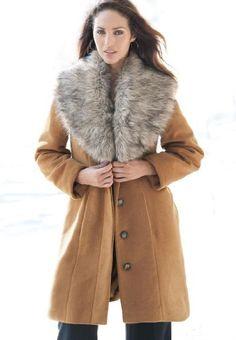 Jessica London Women's Plus Size Faux Fur Trim Coat - Listing price: $229.14 Now: $82.04