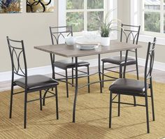 5 Piece Dining Room Set Rustic Wood Metal Kitchen Table 4 Chairs Breakfast Nook #AvenueGreene #CasualRusticTransitionalCountry