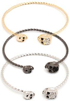 skull bracelet gold pewter silver alexander mcqueen