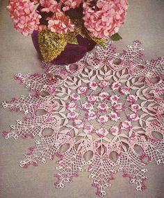1950's Rose Ruffled Doily Vintage Crochet Pattern PDF by annalaia, $3.75