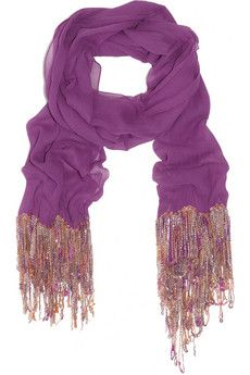 chiffon and silk purple scarf