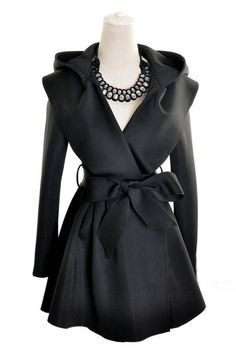 Black Hoodie Belted Waist Long Coat