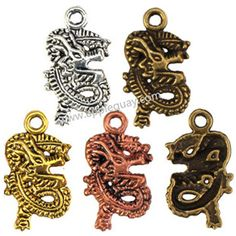 Zinc Alloy Dragon Pendants,Plated,Cadmium And Lead Free,Various Color For Choice,Approx 28*15.5*3mm,Hole:Approx 2.5mm,Sold By Bags,No002563