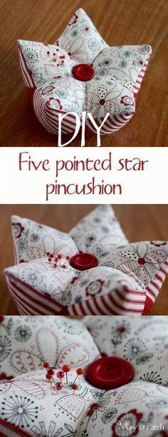 épinglé par ❃❀CM❁✿Maryandpatch, 3D patchwork, five pointed star pincushion tutorial                                                                                                                                                                                 Plus