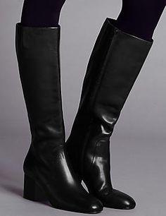 Leather Block Heel Perfect Knee Boots