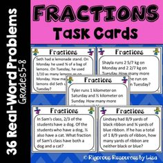 Fraction Word Problem Task Cards- Real-World Problems!!!