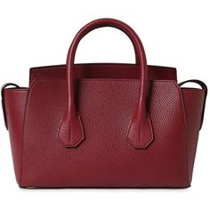 Bally Women Small Sommet Grained Leather Bag ($1,350) ❤ liked on Polyvore featuring bags, handbags, dark red, full grain leather belt, red handbags, red purse, leather belts and red leather belt