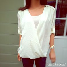 Calvin Klein Shoulder ZipDrape Blouse Chic! Very beautiful off-white top with gold zippers on shoulders and lovely cross drape style. NWT! 👗The Chic Shed; A Current and Classic Fashion Curation. 👗 🎁10% OFF BUNDLES🎁 I ❤️ THE OFFER BUTTON😊 ❌NO PP, TRADES, HOLDS❌  💖15% OFF RETURN BUYER BUNDLES💖 Calvin Klein Tops