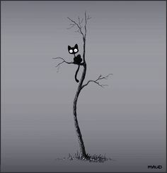 The cat in the tree by Stuffed Kitty on deviantart. Art of the cat illustration. Foto Fantasy, Fantasy Witch, Crazy Cat Lady, Crazy Cats, Image Chat, Illustration Art, Illustrations, Halloween Illustration, Black Tree
