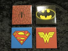 Super hero themed granite tile coasters with cork backing.