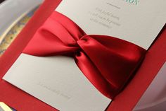 100pcs wedding invitations with ribbon-White and Red. $85.00, via Etsy.