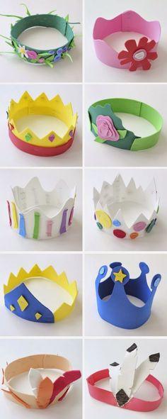 idée activité manuelle primaire, maternelle, des couronnes en papier mousse à mutifs multicolores, petit prince princesse