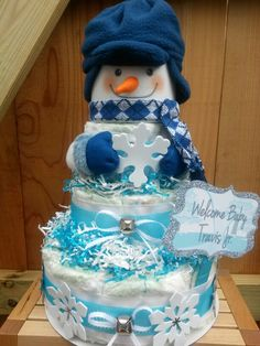 Snowman Diaper Cake for Baby it's Cold Outside Baby Shower