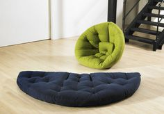 Perfect chair for kid's rooms -- pod chairs makes into mattress for sleepover. Buh-bye trundle!