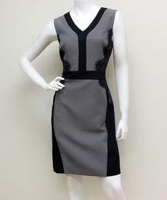 Voir Voir Black Lace-Panel Sleeveless Dress  #zulily
