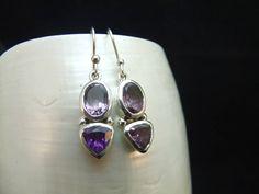 Amethyst Gemstone Sterling Silver Earrings by WelshHillsJewellery on Etsy