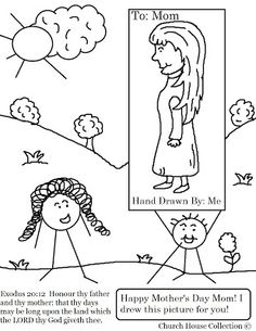 Mothers Day Coloring Page For Sunday School Little Stick Boy Holding Picture He Drew His