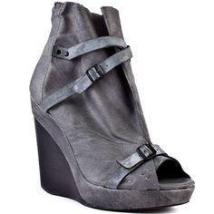 You'll adore the sandal and bootie combination evident in this Joes Jeans style. Hanson features a grey leather upper with decorative distressed straps. This style has a zipper in the back, inch platform and 4 inch wedge to perfect this vintage looker Grey Leather, Leather Heels, Shoes With Jeans, Casual Heels, Ankle Strap Heels, Joes Jeans, Me Too Shoes, Wedges, Shoe Bag