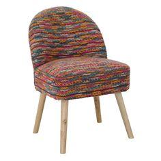 Sedia in legnodi betulla, MDF e tessuto poliestere intrecciato multicolor.