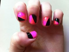 Color blocking nail polish! Links to DIY ideas and inspiration.