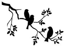 Shabby Chic Stencil 3 birds in tree Rustic Mylar. Vintage Shabby Chic Stencil 3 birds in tree Rustic Mylar. Stencil Patterns, Stencil Designs, Paint Designs, Simple Wall Paintings, Creative Wall Painting, Bird Stencil, Stencil Painting, Bird Silhouette Art, Shabby Chic Stencils