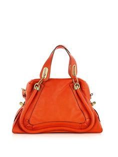 CHLOE Paraty grained leather bag. I love a splash of bright orange to update an outfit in an instant.