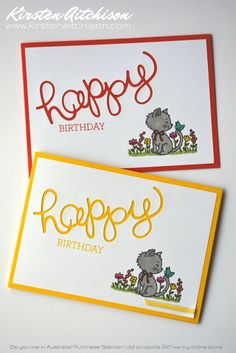 Hello and thanks for dropping by :) Today's cards were inspired by a couple of creative card challenges: The Global Design Project . Cat Cards, Kids Cards, Pretty Cats, Pretty Kitty, Kids Birthday Cards, Birthday Images, Birthday Quotes, Scrapbook Cards, Scrapbooking