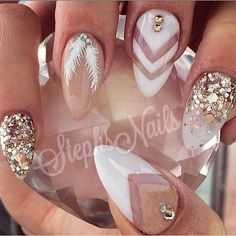 _stephsnails_'s Instagram posts | Pinsta.me - Instagram Online Viewer Almond Nails Designs Summer, Summer Nails Almond, White Almond Nails, Almond Nail Art, White Gold Nails, Silver Nails, White Glitter, Glam Nails, Fancy Nails