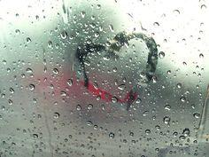 Raindrops heart - heart in a rainy day