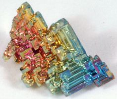 Bismuth Crystal - This thing is so awesome. Minerals And Gemstones, Crystals Minerals, Rocks And Minerals, Stones And Crystals, Gem Stones, Healing Stones, Crystal Healing, Sticks And Stones, Ruby Gemstone