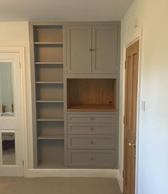 This is my latest project - an alcove unit comprising of shelving, cupboard and draw unit with space for TV. Made from a mix of solid oak, oak veneer and painted MDF which we fitted today Kitchen Cupboard Storage, Kitchen Cupboards, Tall Cabinet Storage, Utility Cupboard, Bespoke Furniture, Cheap Furniture, Furniture Design, Kitchen Furniture, Bedroom Built In Wardrobe