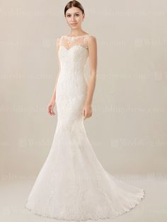 Vintage mermaid wedding dress stands out with elegance and romance. Bodice is created with bateau neckline. Slight beaded embellishment is highlighted. This mermaid style wedding dress is finished with zipper closure with covered buttons.
