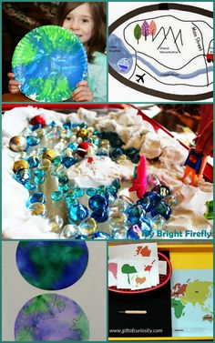 5 Fun Geography Activities for Preschoolers. Earth art, playing with maps in the sandbox, creating and exploring water and landforms, Montessori inspired continent activities.