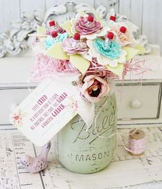 A pencil bouquet made of handmade flowers inside a shabby painted mason jar....how Melissa is this!