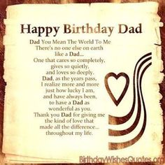 Happy Birthday Dad Messages Father Quotes Card For