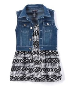 Take a look at this Gray Geometric Apron Dress & Denim Vest - Infant, Toddler & Girls today!