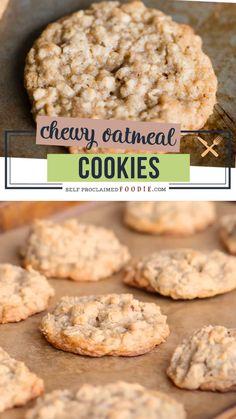 Soft Chewy Oatmeal Cookies, Healthy Oatmeal Cookies, Oatmeal Cookie Recipes, Oatmeal Chocolate Chip Cookies, Cookies With Applesauce, Cookies With Walnuts, Oatmeal Cinnamon Cookies, Harvest Cookies Recipe, Oatmeal Cookies Without Butter