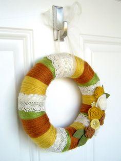 Yarn Wreath - minus the lace