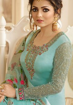 drashti dhami sky blue satin georgette embroidered churidar suit 3201 Colour Combination For Dress, Blue Colour Dress, Colour Combinations, Dress Indian Style, Indian Dresses, Indian Outfits, Blue Dresses, Churidar Suits, Salwar Kameez