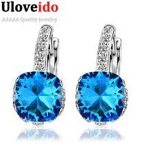 15% Off Géométrique Cristal De Mariage Bijoux Boucles D'oreilles pour les Femmes Boucles D'oreilles Puces Bijoux Bleu Cubique Zircone Pierres Oreille Clips DML115